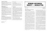 Newark Historical Society Newsletter, March 1984